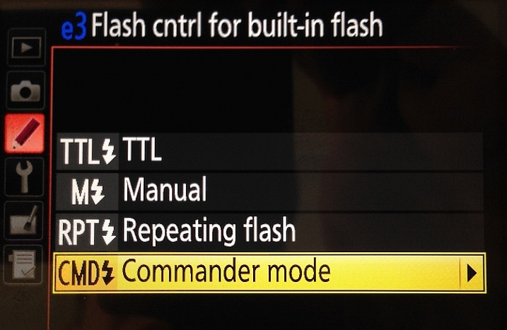 "Next, select ""Commander mode"" – press the right button to get to the next menu below"