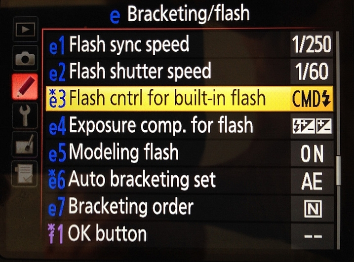 "Select the ""Flash control for built-in flash"" option"